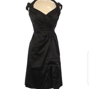 Tadashi Shoji black ruched cocktail dress size 4